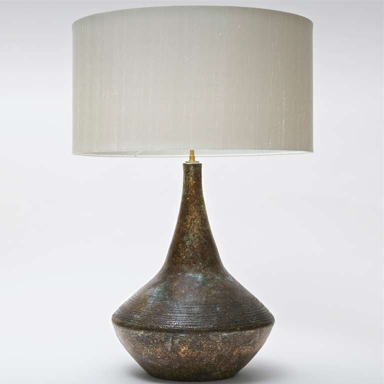 ceramic table lamp base signed by les 2 potiers at 1stdibs