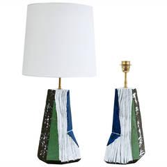 Large Sculptural Pair of Ceramic Lamp Bases by Salvatore Parisi