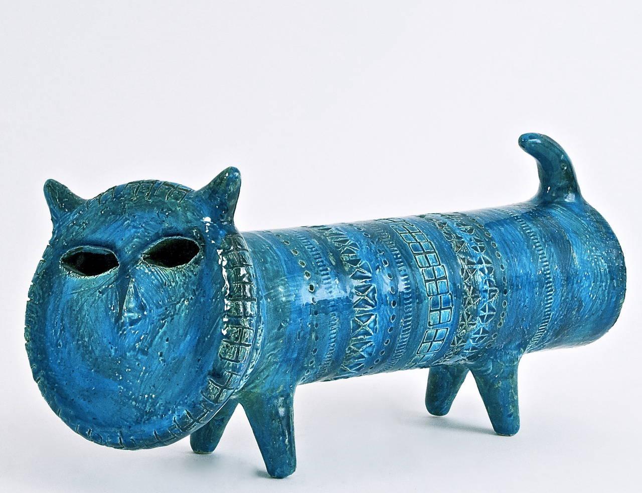 Rare Quot Rimini Blu Quot Ceramic Cat By Aldo Londi For Bitossi At