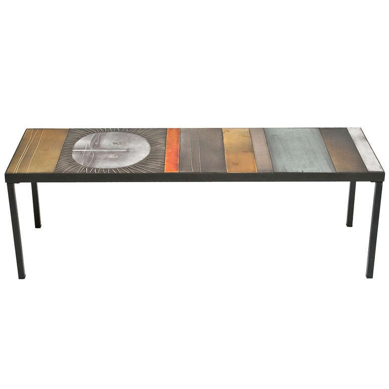 Glazed lava tile top coffee table by roger capron at 1stdibs for Tile top coffee table