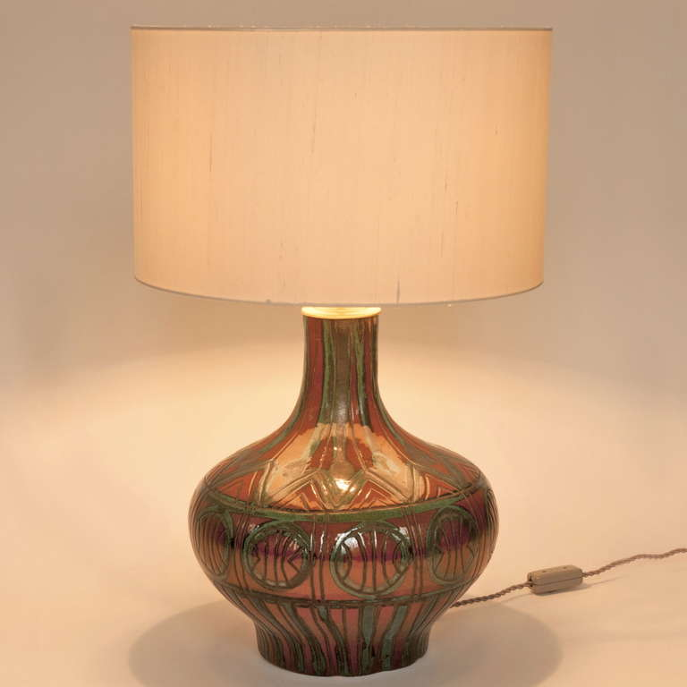 rare ceramic table lamp by roger capron at 1stdibs