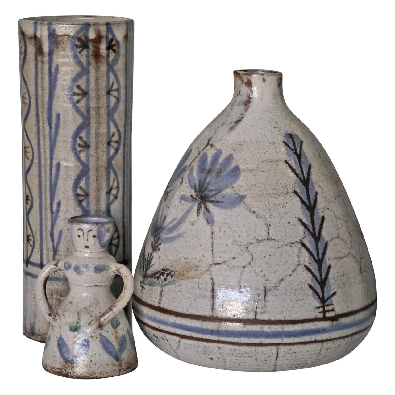 Three Stoneware Shapes by Gustave Raynaud and Jean Derval, Vallauris, circa 1950