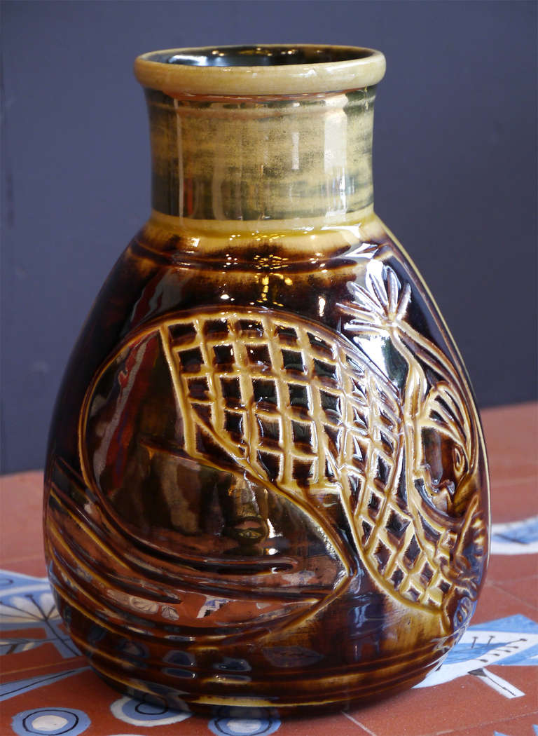 Gourd Vase By Accolay France Circa 1960 At 1stdibs