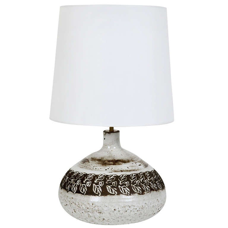white ceramic table lamp base by albert thiry 1