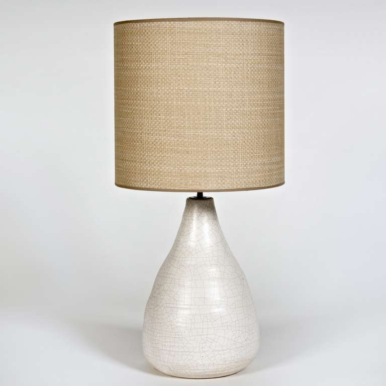 White Table Lamps : Ceramic Table Lamp Base in White Crackled Glaze at 1stdibs
