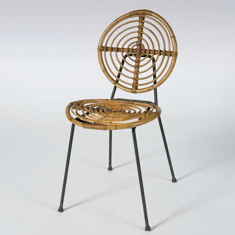 Mid Century Modern Midcentury Rattan Chairs On Metal Frame By Thonet For  Sale