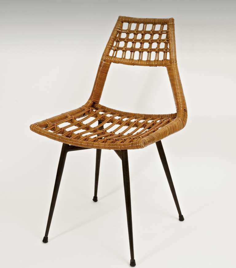 Mid Century Modern Modernist Rattan Chairs On Metal Frame For Sale