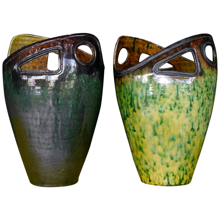 Pair of Sculptural Ceramic Vases by Accolay