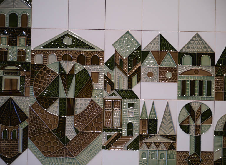 Mid-Century Modern Large Set of Wall Tiles by Roger Capron, Vallauris, 1972 For Sale
