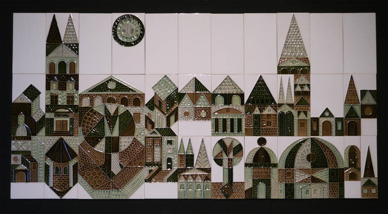 Large Set of Wall Tiles by Roger Capron, Vallauris, 1972 For Sale 1