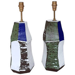 Pair of Faceted Ceramic Lamp-Bases
