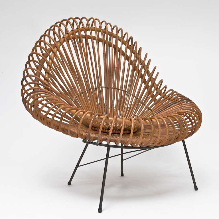 Bamboo and Rattan Lounge Chair in the style of Janine Abraham & Dirk Jan Rol 2