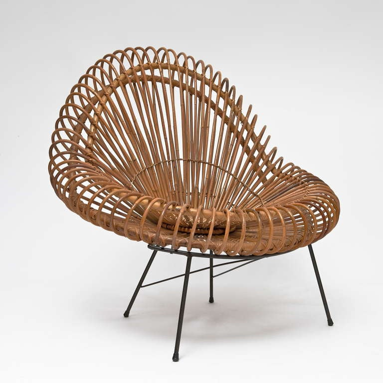 Mid-Century Modern Bamboo and Rattan Lounge Chair in the style of Janine Abraham & Dirk Jan Rol For Sale