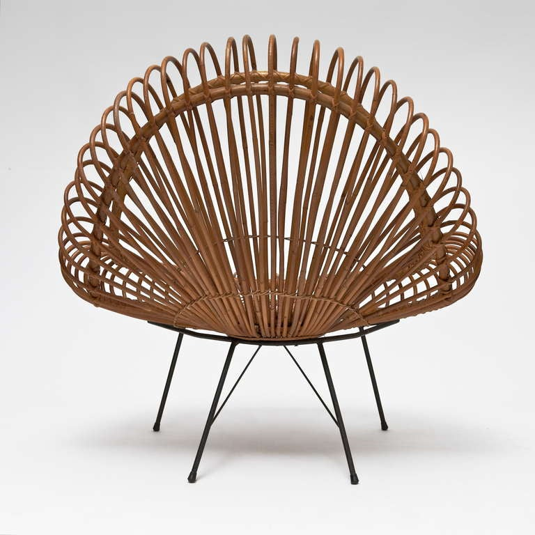 Bamboo and Rattan Lounge Chair in the style of Janine Abraham & Dirk Jan Rol In Good Condition For Sale In Saint Ouen, FR