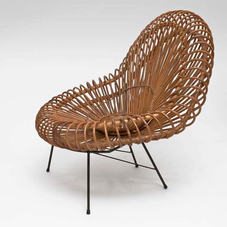 Unknown Bamboo and Rattan Lounge Chair in the style of Janine Abraham & Dirk Jan Rol For Sale
