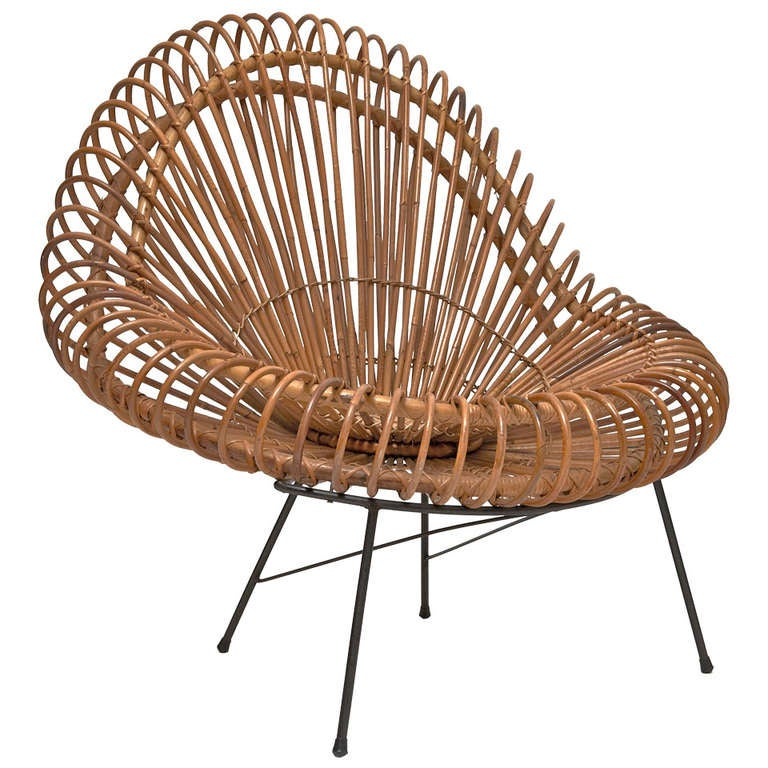Bamboo and Rattan Lounge Chair in the style of Janine Abraham & Dirk Jan Rol For Sale