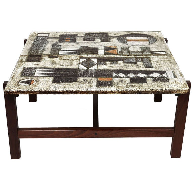 Glazed Lava Coffee Table By Les 2 Potiers At 1stdibs