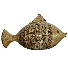 Rare 1960s Ceramic Fish Vase by Jean-Claude Malarmey, Vallauris