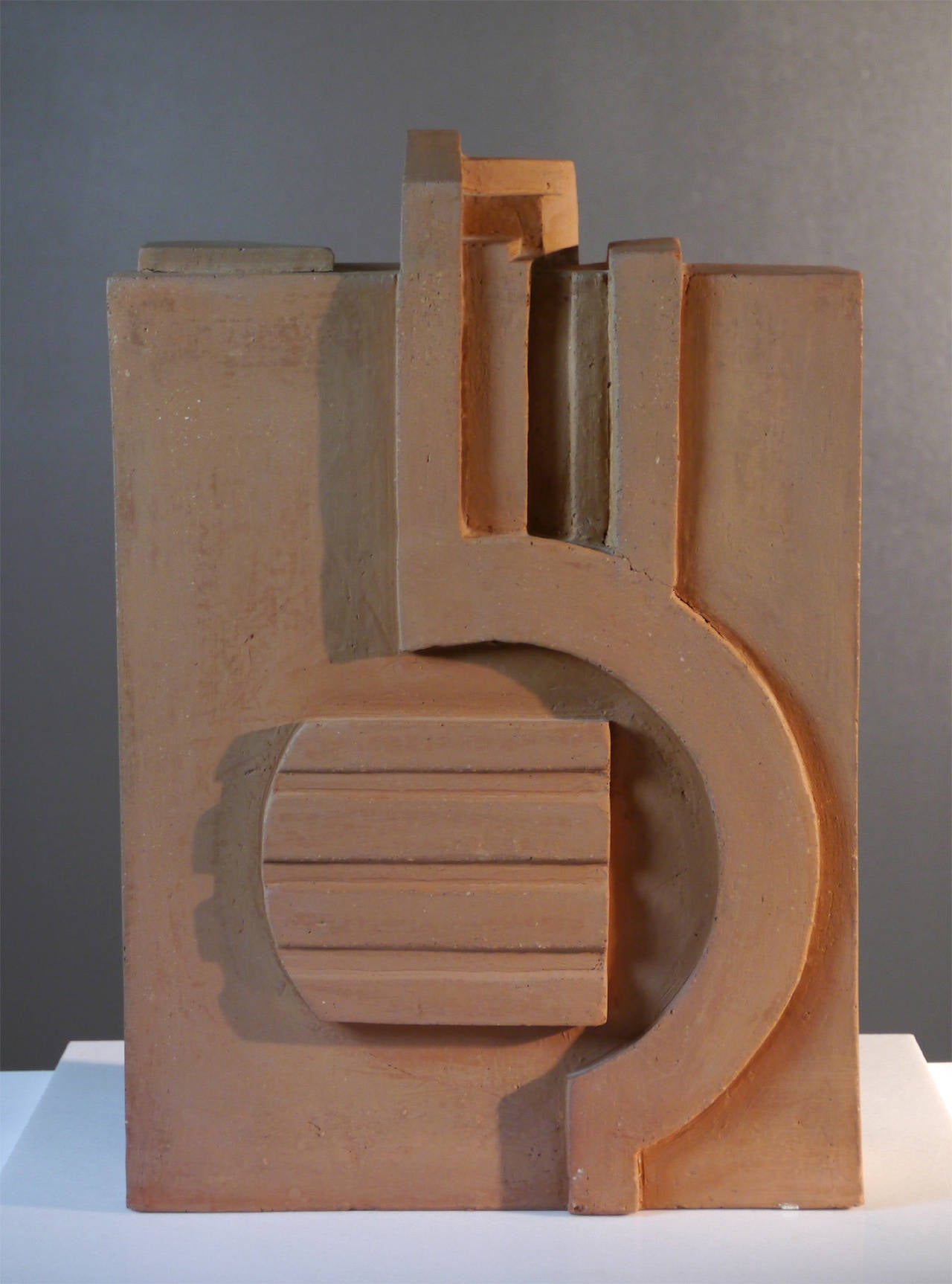Ceramic Ocher Earth Sculpture by Jacques Barbier, 1990 For Sale