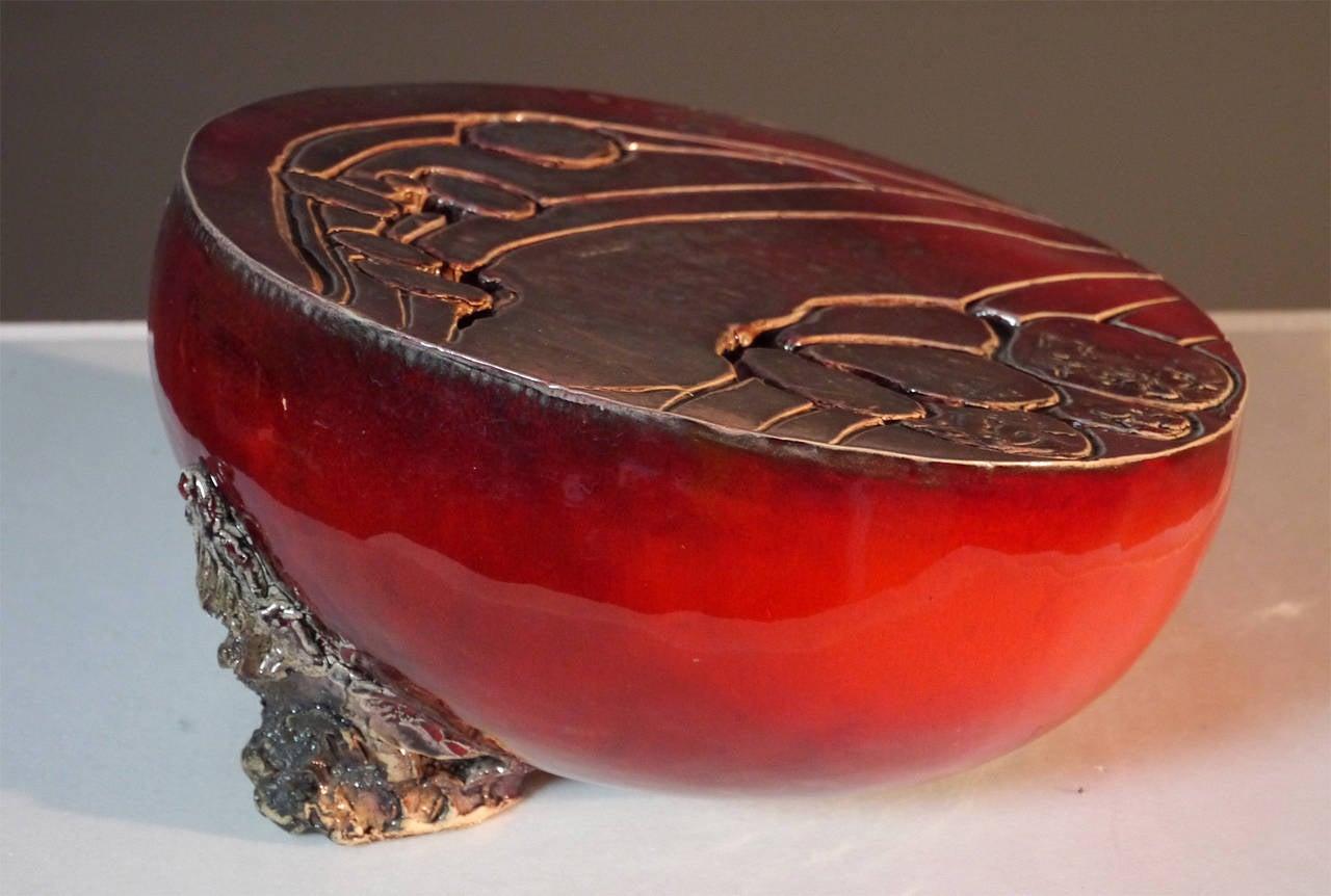 Glazed Ceramic Sculpture by Josette et Jacques Barbier, 1984 For Sale
