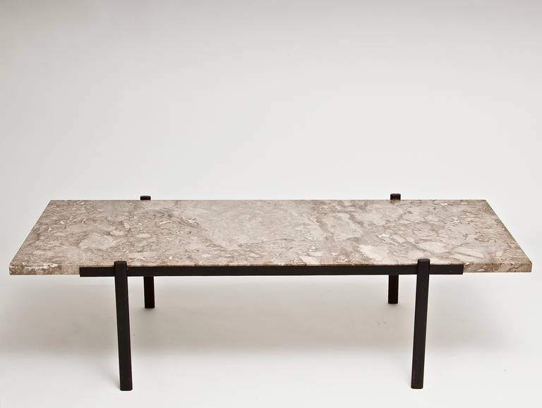 Large Mid Century Marble Top Coffee Table At 1stdibs