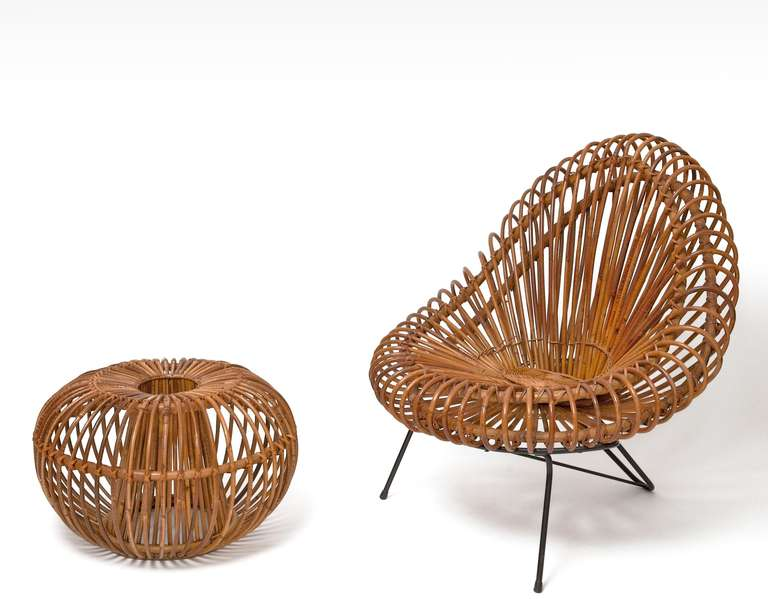 rattan lounge chair and ottoman in the style of janine abraham u0026 dirk jan rol 2