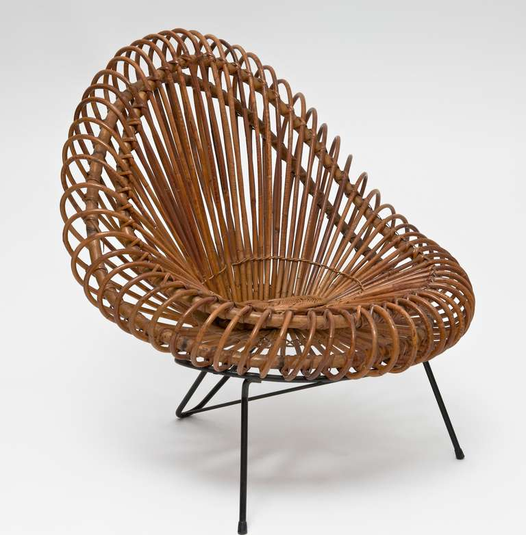Rattan Lounge Chair and Ottoman In The Style of Janine