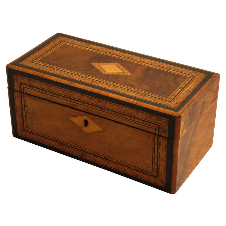 Tunbridgeware Tea Caddy of Inlaid Wood For Sale at stdibs