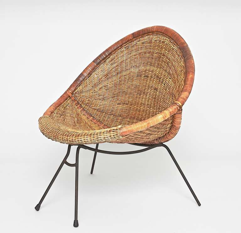 pair of vintage wicker and metal chairs at 1stdibs