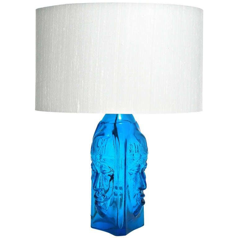 deep blue glass lamp base at 1stdibs. Black Bedroom Furniture Sets. Home Design Ideas