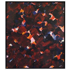 Jean Megard - Large Abstract Painting - France c. 1980