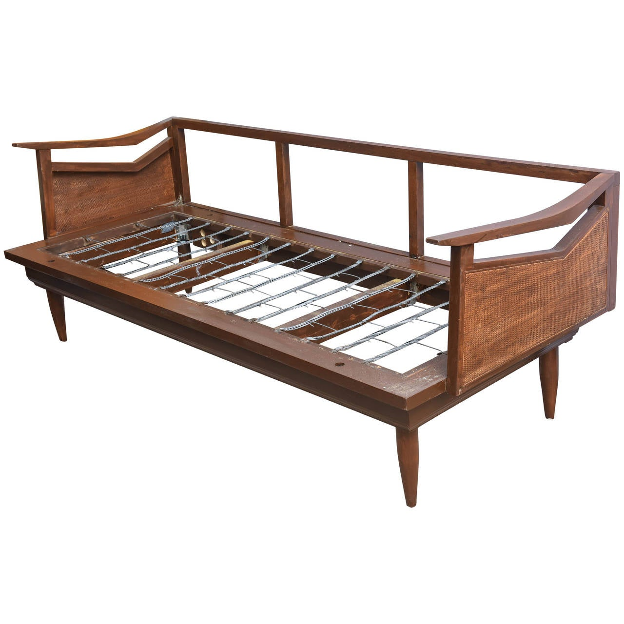 Restored Danish Teak and Cane Day Bed Attributed to Wegner, 1960s Denmark 1 - Restored Danish Teak And Cane Day Bed Attributed To Wegner, 1960s