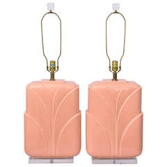 Monumental Hollywood Regency Lucite and Ceramic Table Lamps, USA 1960s