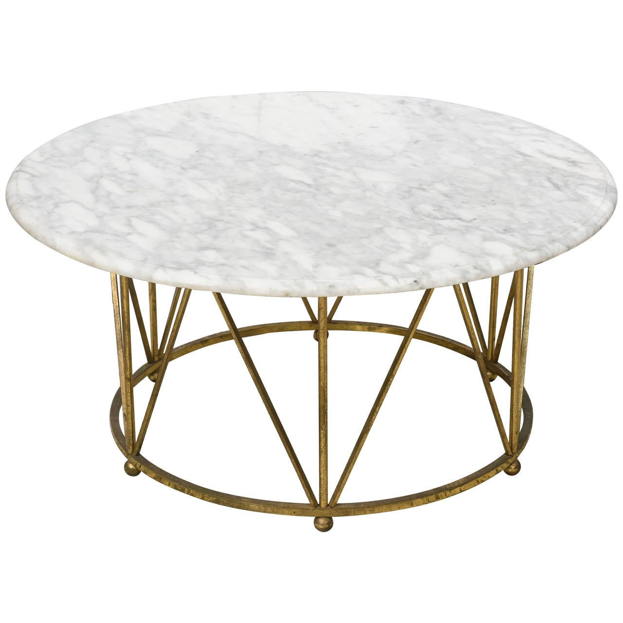 Hollywood Regency La Barge Brass And Carrera Marble Coffee Table Usa 1960s At 1stdibs