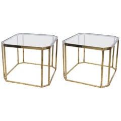 Pair of Brass Milo Baughman End Table, 1960s USA