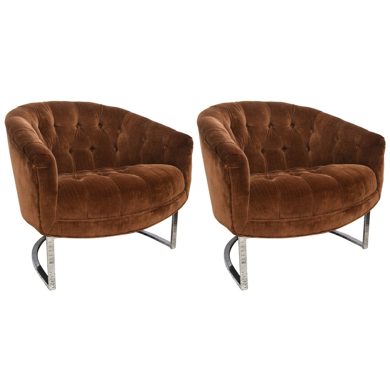 Of tufted barrel back chairs milo baughman usa 1970s at 1stdibs