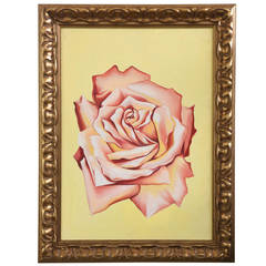 "Lowell Nesbitt Oil on Canvas ""Light Pink Rose,"" USA 1979 Saturday  Sale"