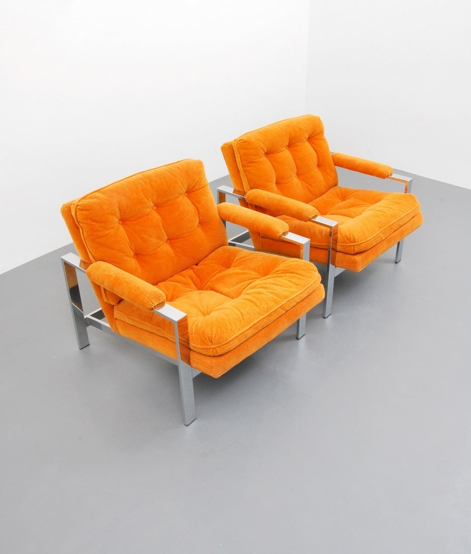 American Pair of Lounge Chairs by Milo Baughman, USA, 1970s