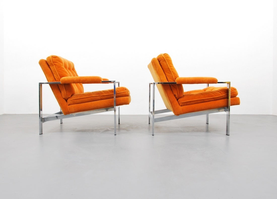 Pair of Lounge Chairs by Milo Baughman, USA, 1970s In Excellent Condition In Miami, FL