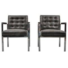 Beautiful Pair of Milo Baughman Style Armchairs, 1960s, USA