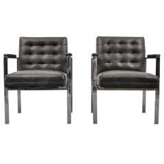 Beautiful pair of Milo Baughman Arm Chairs--1960s USA