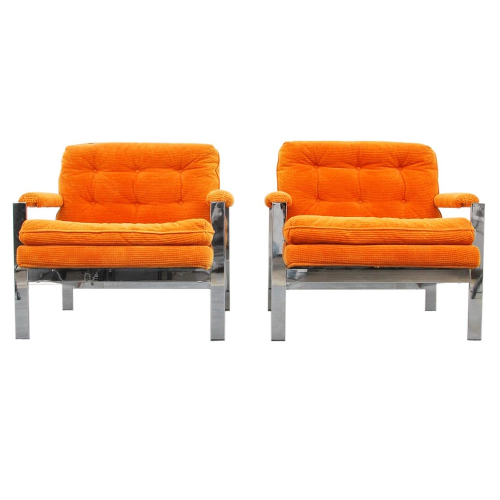 Pair of Lounge Chairs by Milo Baughman, USA, 1970s