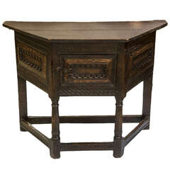 Rare Early English Oak Credence Table