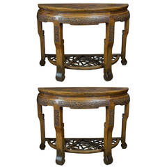 Pair of Early 19th Century Chinese Elmwood Console Tables