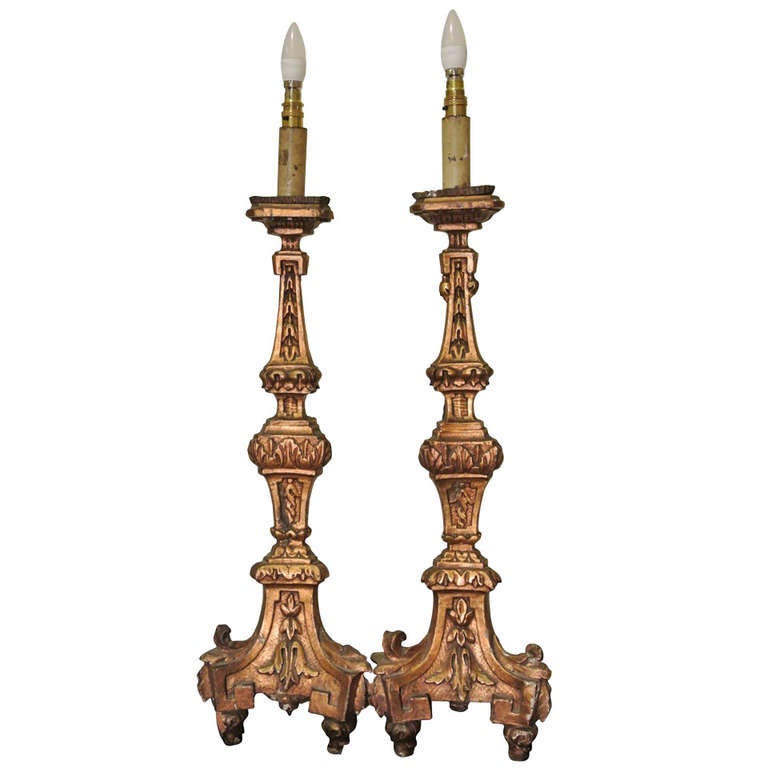 Pair of Early 18th Century, Italian Altarsticks Converted to Lamps