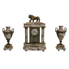 19th Century French Marble Mantel Clock Garniture