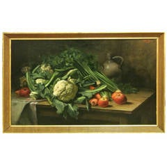 Large 19th Century Still Life Oil on Canvas