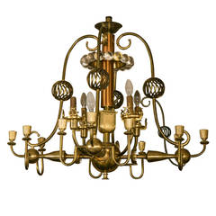1940 Spectacular 16-Light Chandelier Created by an Architect