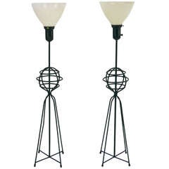 Rare Pair of Large Table Lamps by Harry Lawenda for Kneedler Fauchere