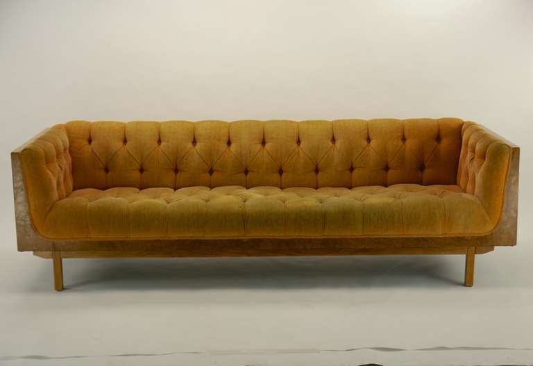 Burl Case Sofa By Milo Baughman At 1stdibs